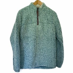 True Grit Aqua Sherpa Frosty Tipped Pullover XS